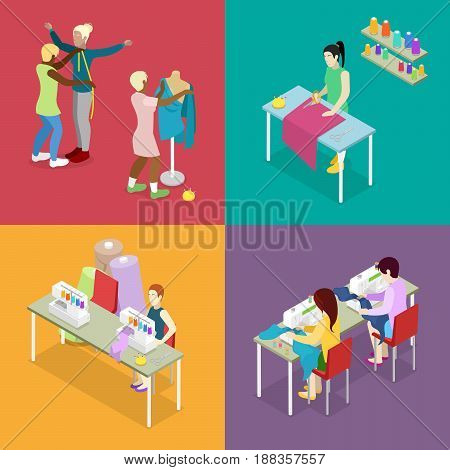 Isometric Dressmaker Salon Atelier with Tailor and Mannequin. Sewing and Knitting. Woman Making Clothes. Vector flat 3d illustration