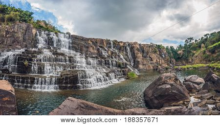 Large Panorama Of Amazing Pongour Waterfall Is Famous And Most Beautiful Of Fall In Vietnam. Not Far