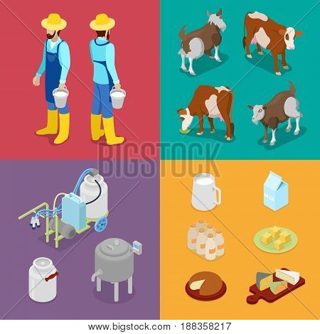 Milk Industry Production. Man with Bottle of Milk, Cow and Cheese. Dairy Product. Isometric vector flat 3d illustration