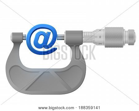 Horizontal micrometer measures mail symbol. Concept of email sign and measuring tool. Best vector image about internet communication services information technology email telecommunication etc
