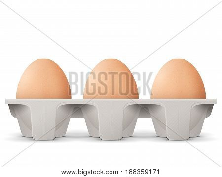 Chicken eggs in carton egg box isolated on white background. Cardboard egg tray with brown eggs front view. Best vector illustration for bird eggs food poultry farming gastronomy cooking etc poster