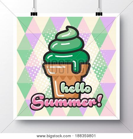 Poster with icon ice-cream and phrase-Hello Summer on a vintage pattern background. Vector illustration for wallpaper flyers invitation brochure greeting card menu.