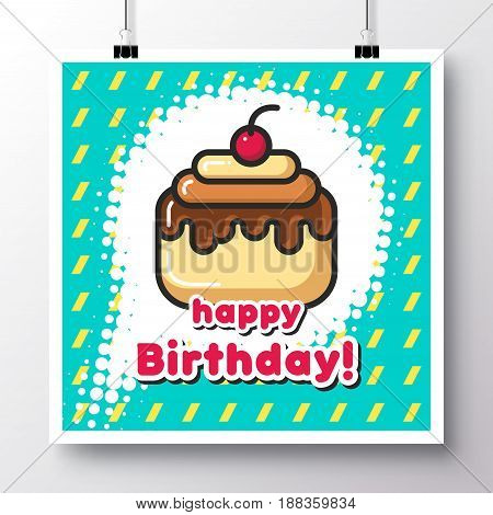 Poster with icon cake and phrase-Happy Birthday on a vintage pattern background. Vector illustration for wallpaper flyers invitation brochure greeting card menu.
