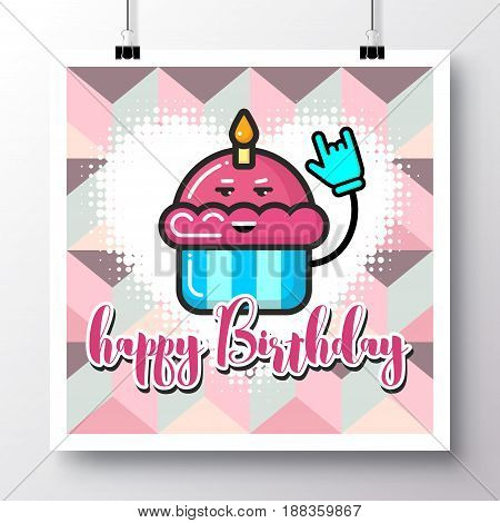 Poster with icon cupcake with a candle and phrase-Happy Birthday on a vintage pattern background. Vector illustration for wallpaper flyers invitation brochure greeting card menu.