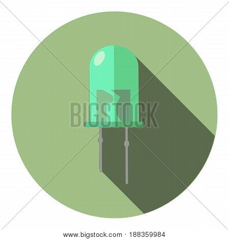 Vector image of a turquoise LED on a round background