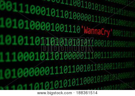 The Wannacry And Binary Code Concept Security And Malware Attack