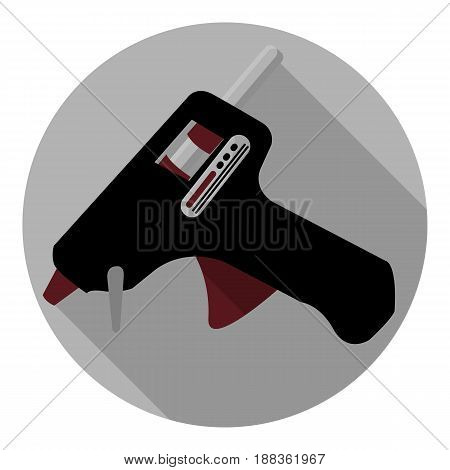 Vector image of glue gun on a round background