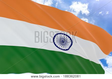 3D Rendering Of India Flag Waving On Blue Sky Background
