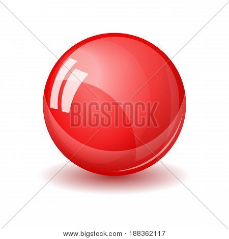 Glass sphere, realistic vector illustration. Red glossy ball with reflections and shadow isolated on white backround