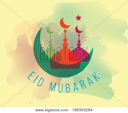 Eid mubarak. Vector typography, text design. Background for greeting cards, print and web.
