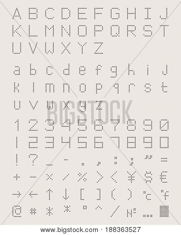 dotted font in retro style, perforated machine type