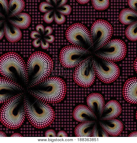 Seamless pattern with red tiare flower. Dots, doted pattern. Monoi flower. Black background.