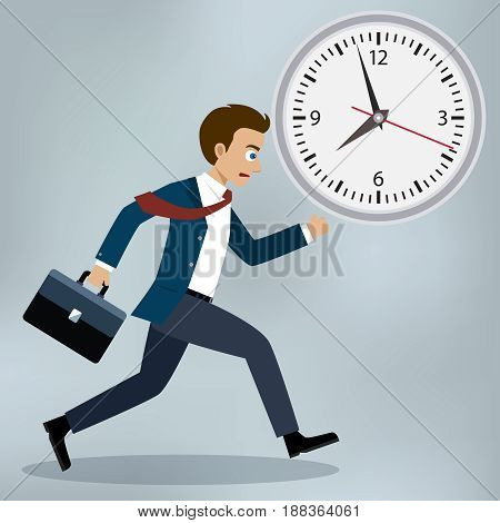Business mam running and hurry up. Flat design, vector illustration