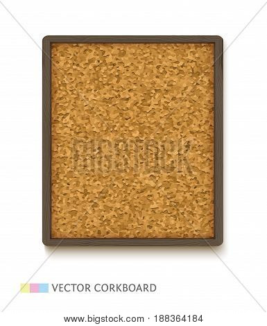 Cork board with dark wooden frame, realistic vector illustration. Vertical corkboard isolated on white background.