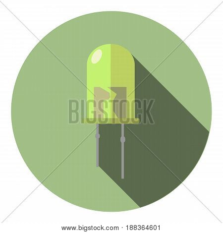 Vector image of a light green led on a round background