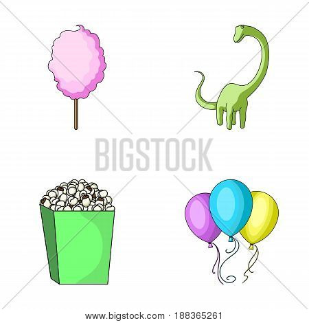 Sweet cotton wool on a stick, a toy dragon, popcorn in a box, colorful balloons on a string. Amusement park set collection icons in cartoon style vector symbol stock illustration .