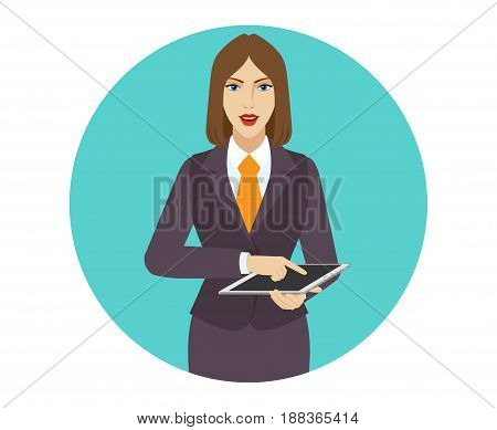 Businesswoman using a digital tablet PC. Portrait of businesswoman in a flat style. Vector illustration.