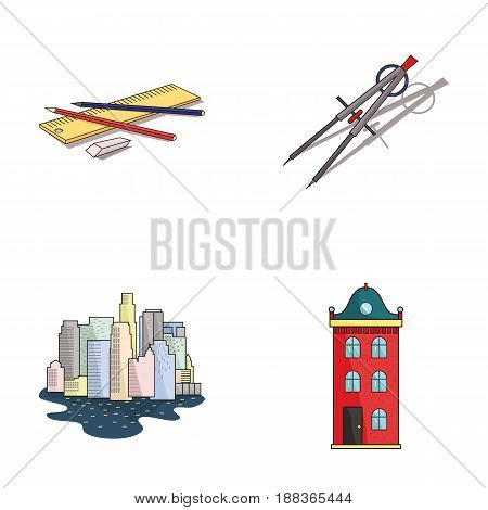 Drawing accessories, metropolis, house model. Architecture set collection icons in cartoon style vector symbol stock illustration .