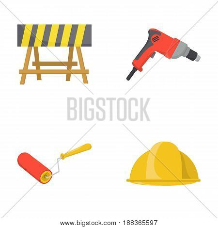 A barrier on the construction site, an electric drill, a roller for painting and a helmet. Build and repair set collection icons in cartoon style vector symbol stock illustration .