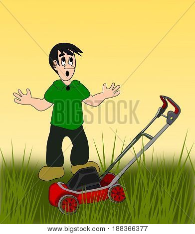 A young boy, with a lawn mower, in tall grass.