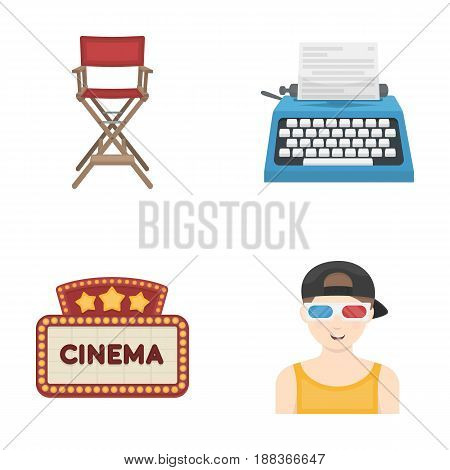 Chair of the director, typewriter, cinematographic signboard, film-man. Films and cinema set collection icons in cartoon style vector symbol stock illustration .