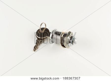 Set of house keys on white background
