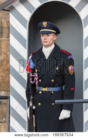 CZECH REPUBLIC, PRAGUE - OCTOBER 02, 2017: At 12 noon, possible to watch a special ceremony during the changing of the guards