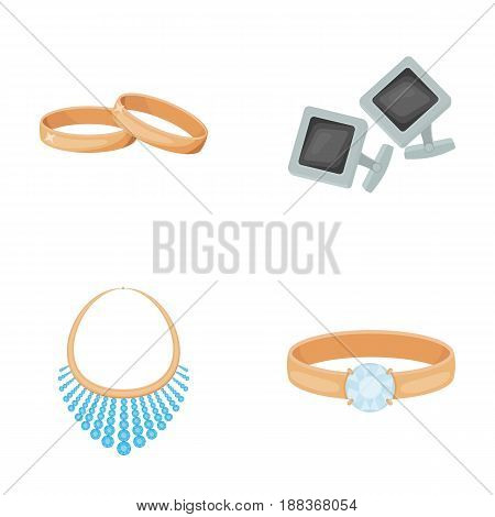 Wedding rings, cuff links, diamond necklace, women's ring with a stone. Jewelery and accessories set collection icons in cartoon style vector symbol stock illustration .