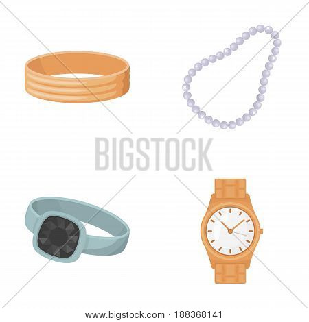 Engagement ring, beads from pearls, men's ring, wristwatch gold. Jewelery and accessories set collection icons in cartoon style vector symbol stock illustration .