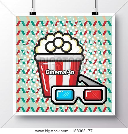 Poster with icon popcorn and glasses and phrase-cinema 3d on a vintage pattern background. Vector illustration for wallpaper flyers invitation brochure greeting card menu.