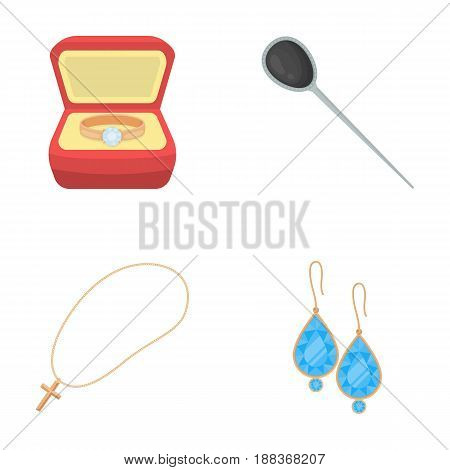 Ring in a case, hair clip, earrings with stones, a cross on a chain. Jewelery and accessories set collection icons in cartoon style vector symbol stock illustration .