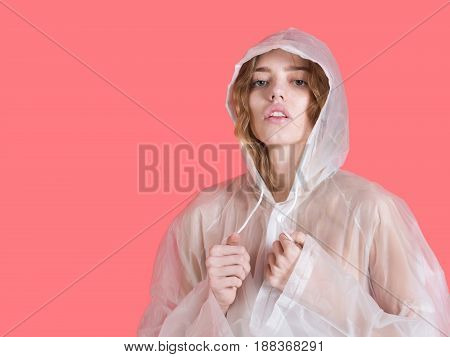 Girl With Raincoat White Color On Red Background