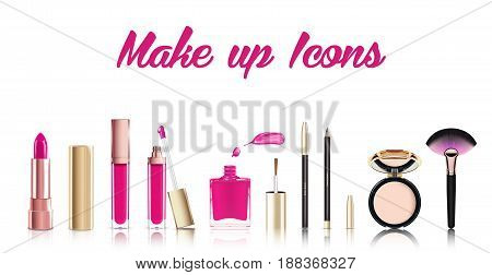 Beautiful cosmetic icons set in gold. lipstick, lip gloss, nail polish with smear, cosmetic eyeliner pelcil and face powder. Makeup realistic vector isolated on white