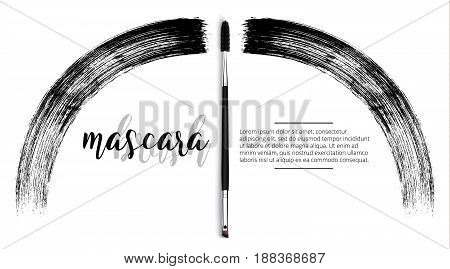 Vector make-up cosmetic mascara brush design concept with brush stroke. Realistic mascara brush template on white background with text