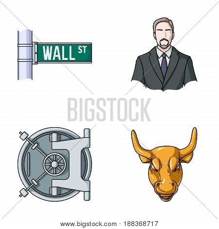 Wall Street, a businessman, a bank vault, a gold charging bull. Money and finance set collection icons in cartoon style vector symbol stock illustration .