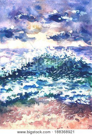 watercolor sea waves at beach, tidal bore, hand drawn illustration