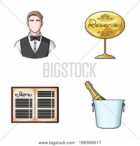 Waiter, reserve sign, menu, champagne in an ice bucket.Restaurant set collection icons in cartoon style vector symbol stock illustration .