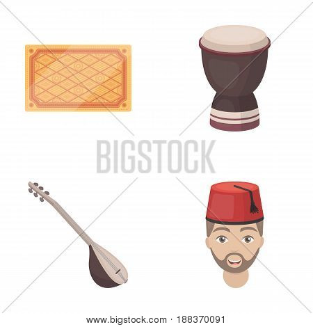 Turkish carpet, saz, drum, turkish men.Turkey set collection icons in cartoon style vector symbol stock illustration .