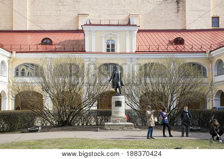 Monument to A.S. Pushkin in the courtyard of the building with a museum-apartment in St. Petersburg.
