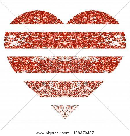 Striped Love Heart grunge textured icon for overlay watermark stamps. Flat symbol with scratched texture. Textured vector red rubber seal stamp with grunge design on a white background.