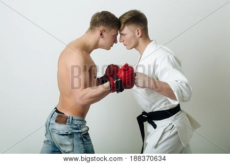 Two Angry Men Twins Or Athletes Fighting