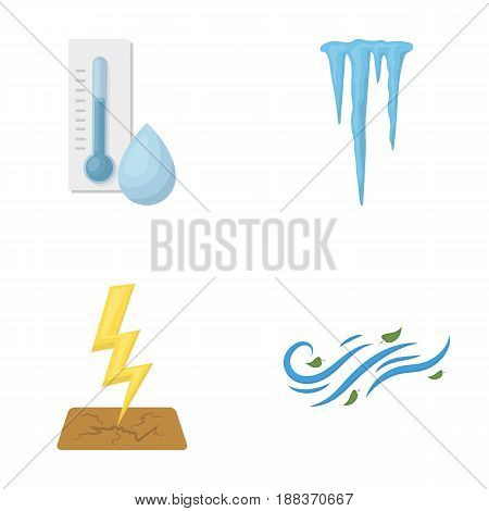 Humidity, icicles, thunderbolt, windy weather. Weather set collection icons in cartoon style vector symbol stock illustration .