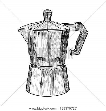 Sketch of Coffee maker Hand drawn coffee maker illustration in engraving style for menu or cafe