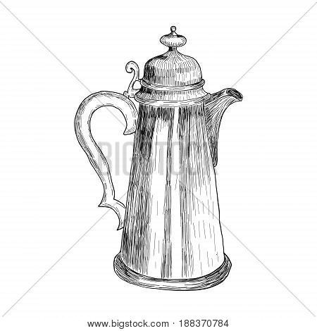 Sketch of Vintage illustration of a coffee pot in an etching style for a poster in the interior of a cafe, retsoran, kitchen.