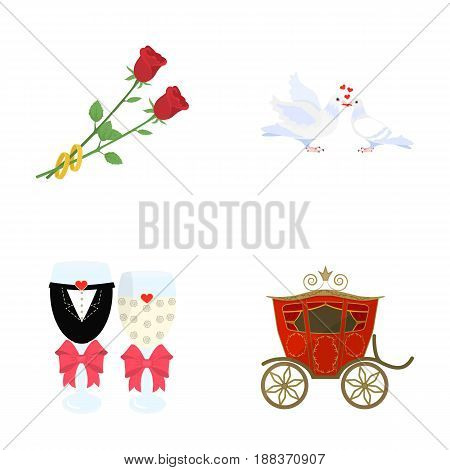 Two red roses with rings, pigeons kissing with hearts, wedding glasses with bows and champagne, a carriage for a festive ceremony. Wedding set collection icons in cartoon style vector symbol stock illustration .