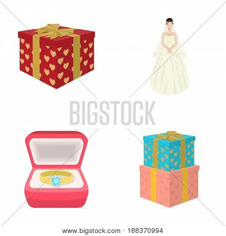 A box with a gift for a wedding, a bride in a veil and a dress, a ring in a diamond engagement ring with a diamond, boxes with gifts. Wedding set collection icons in cartoon style vector symbol stock illustration .
