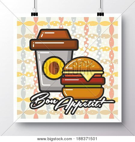 Poster with icon glass of coffee and cheeseburgerand and phrase-Bon Appetit on a vintage pattern background. Vector illustration for wallpaper flyers invitation brochure greeting card menu.