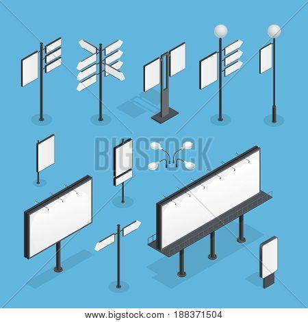 Billboard isometric set on blue background isometric isolated vector illustration