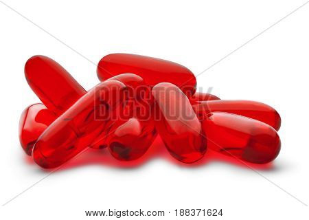 Red Medical Pill On A White Isolated Background