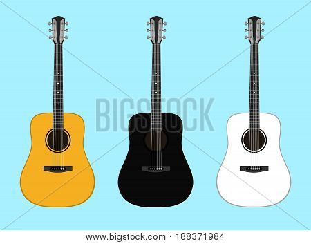 Musical instruments. Set of acoustic guitars isolated on a colored background. Vector illustration